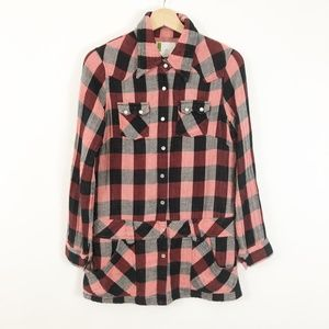 Urban Outfitters Plaid Button Down Tunic Shirt